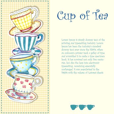 Tazas de té de la acuarela en los fondos blancos. Foto de archivo - 45857125