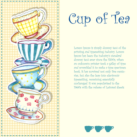 teacups: Tea cups watercolor on the white backgrounds.