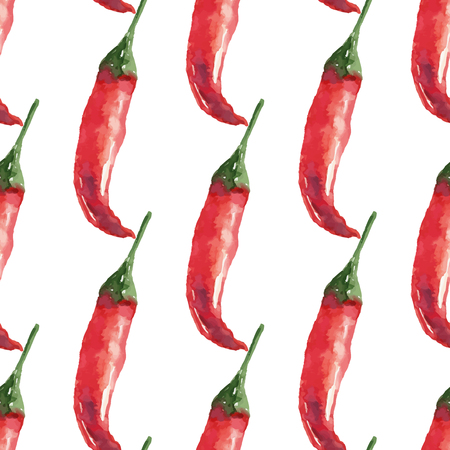 chilli pepper: Chilli. Hand drawn watercolor painting on white background seamless pattern. Vector illustration