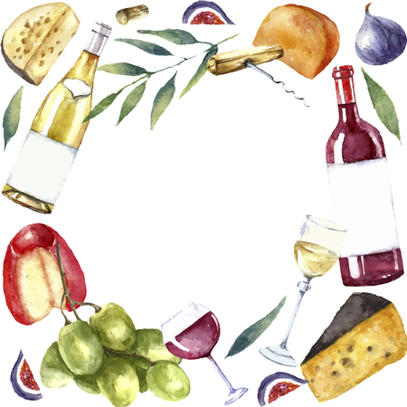 Watercolor wine and cheese frame. Round frame with hand painted food objects. Red wine bottle and glass, white wine bottle and glass, grapes, cheeses, figs and green twig. Vector background. Vettoriali