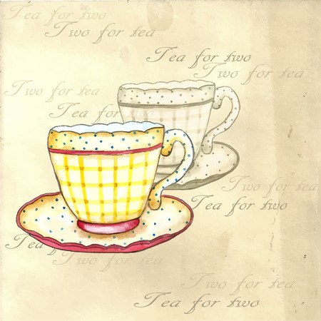 victorian vintage: Tea cups watercolor on the retro backgrounds. Illustration