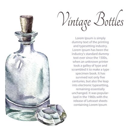 poison bottle: Watercolor vintage perfume bottles. Vector illustration.
