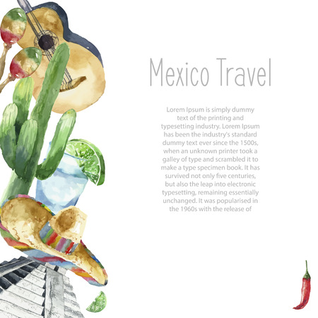 Watercolor Mexico landmark frame. Hand draw round card background with objects. Sombrero, pepper, lime, pyramid, tequila, guitar, cactus. Vector background. Illustration
