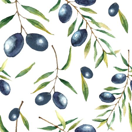 Watercolor olive branch seamless pattern. Hand drawn floral texture with natural elements: black olives, leaves, and olive branches. Vector illustration.