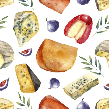 gouda: Cheese making various types with green leaves and figs. Hand draw card background.  Watercolor illustration with place for your text.  Vector.