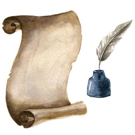Akvarel starý svitek papíru s perem a inkoustem.