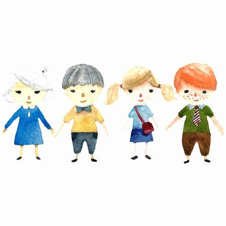 Vector children: trường học trẻ em màu nước minh họa. Vector. Kho ảnh
