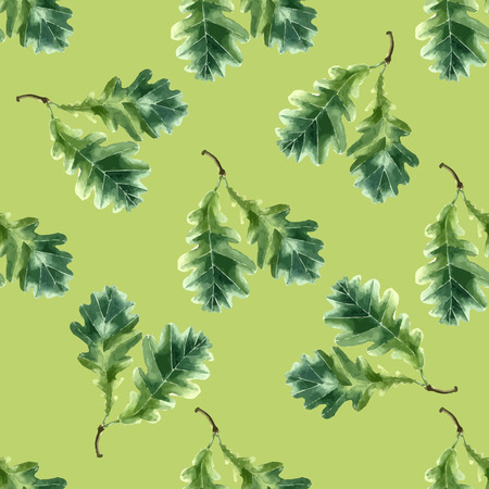 oak wood: Oak leaf watercolor seamless pattern. Vector illustration. Stock Photo