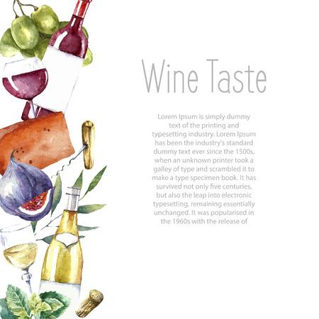 수채화 와인과 치즈 프레임. 손 음식 개체를 그렸다. 화이트와 레드 와인 병 및 유리, 무화과, 치즈, 무화과, 그린 민트. 벡터 배경입니다. 스톡 콘텐츠