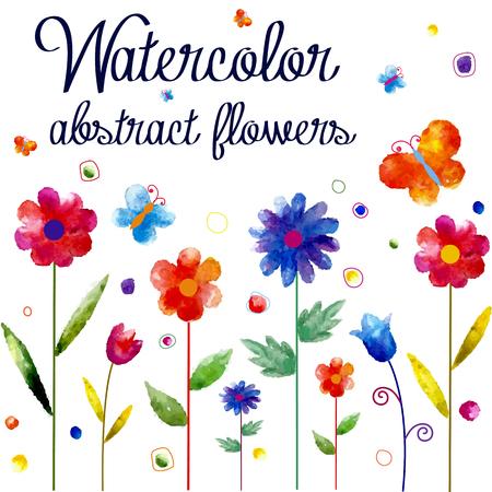 Fond d'aquarelle avec des fleurs et des papillons. Banque d'images - 45857657