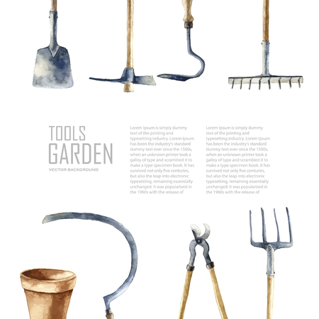 garden furniture: Watercolor garden tools set. Vector hand drawn illustrations: garden rake, sickle, knocker, pliers, garden forks, garden shovel.   Garden furniture objects isolated on white background with place for text. Stock Photo