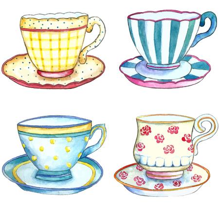 apilar: Tazas de té de la acuarela en los fondos blancos.