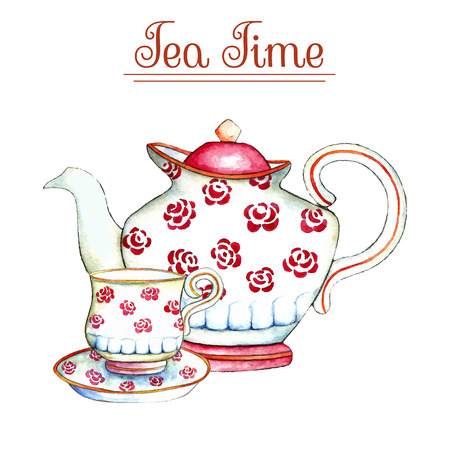 pots: Watercolor teapot and cup on the white backgrounds. Vector illustration. Stock Photo