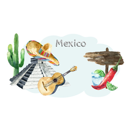 mexico beach: Travel Concept Mexico Landmark Watercolor Icons Design .Vector Illustration.