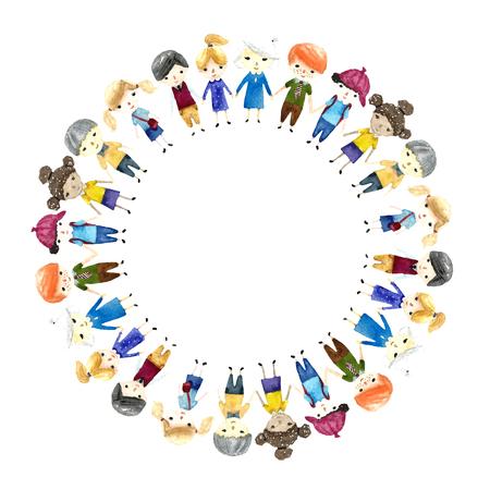 infancia: Acuarela escolares ilustración con lugar para el texto. Vector. Foto de archivo