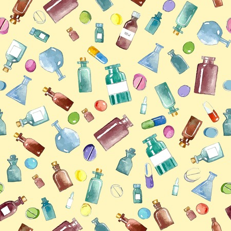 phial: Set of watercolor medical icons: bottle, vial, flask, phial, ampoule, capsule.Vector seamless pattern.