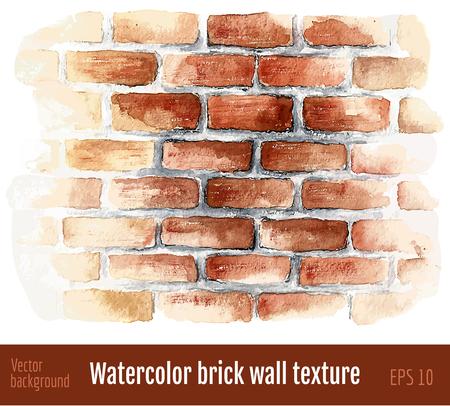 水彩のレンガの壁。