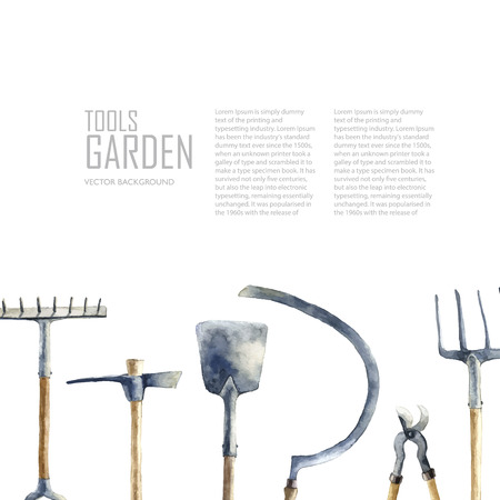 shears: Watercolor garden tools set. Vector hand drawn illustrations: garden rake, sickle, knocker, pliers, garden forks, garden shovel.   Garden furniture objects isolated on white background with place for text. Illustration