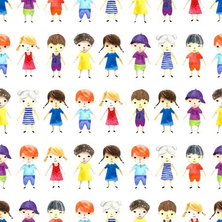 Enfants Aquarelle illustration. Seamless pattern. Vecteur. Banque d'images - 45858150