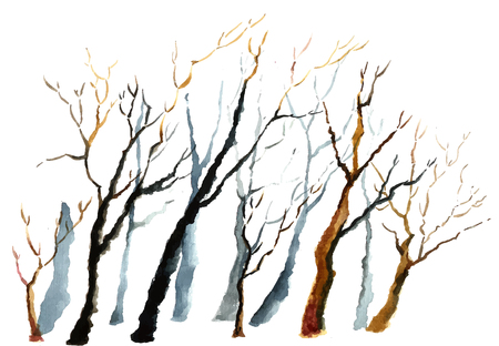 black tree: Watercolor background. Bare winter branches of the trees. Stock Photo