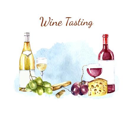 Watercolor wine design elements: wine glass, wine bottle, chees, corkscrew, cork, grape. Vector illustration. Иллюстрация