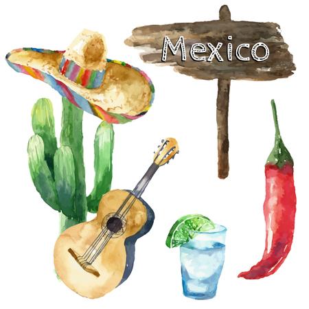 sombrero de charro: Viajes Concepto México Landmark Acuarela Iconos Diseño de vector.