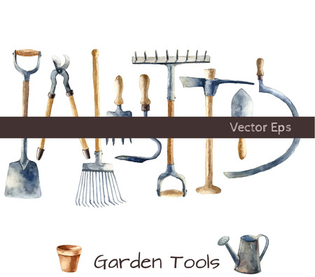 veggie: Watercolor garden tools set. Stock Photo