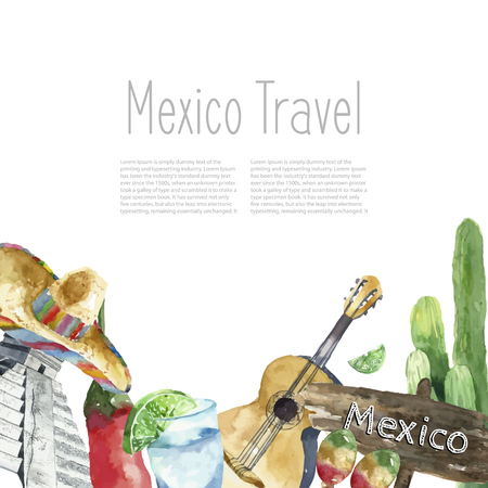 Watercolor Mexico landmark frame. Hand draw round card background with objects. Sombrero, pepper, lime, pyramid, tequila, guitar, cactus. Vector background. Stock Photo