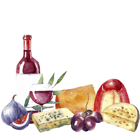 wine and food: Vector set of watercolor food illustration. Grapes, cheese, fig, bottle of red wine and a glass of wine are in the set.