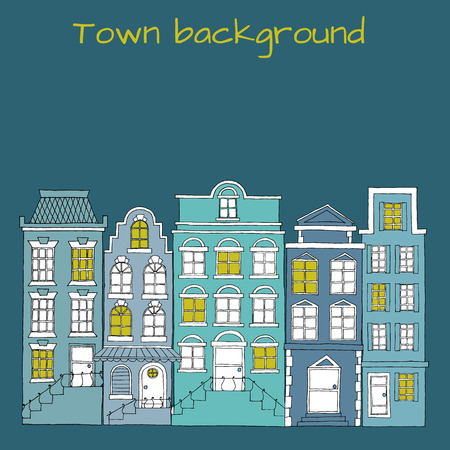 scetch: European street with houses drawing, hand drawn vector elements