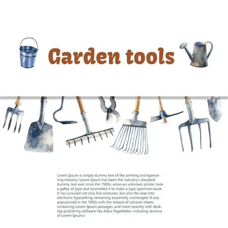 tool: Watercolor garden tools set. Stock Photo