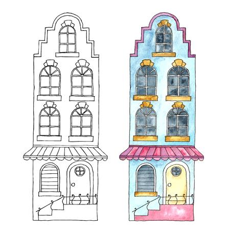 european: Watercolor cartoon buildings.