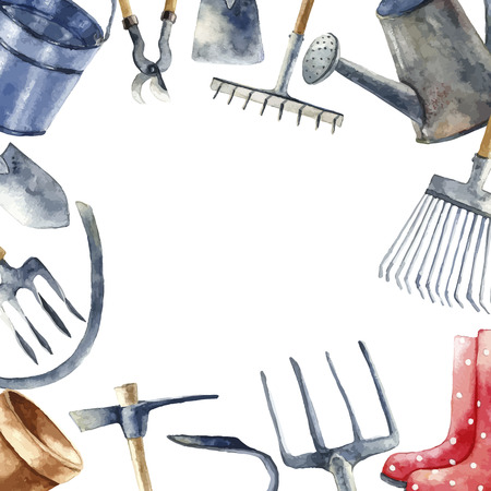 garden furniture: Watercolor round frame with hand painted garden tools objects. Sickle, bucket, cutting pliers, flower pot, rakes, hammer, trowel, watering, rubber boots. Vector background.