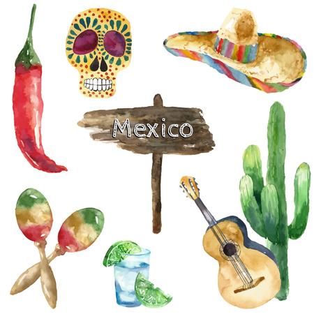 alimentos y bebidas: Viajes Concepto M�xico Landmark Acuarela Iconos Dise�o de vector.