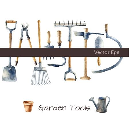 garden furniture: Watercolor garden tools set. Illustration
