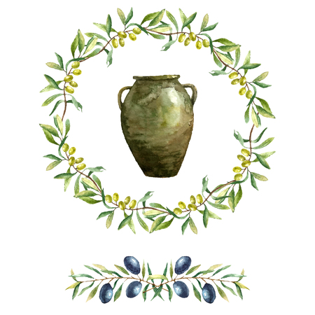 olive green: Hand drawn watercolor illustration with olives. Set of the elements: clay jugs, olive branch and olives on the white background.
