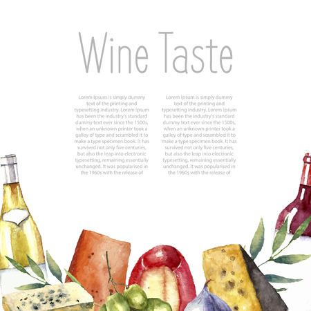 水彩のワインとチーズのフレーム。手描きの料理のオブジェクト。白と赤ワインの瓶とグラス、イチジク、チーズ、イチジクと緑のミント。ベクト