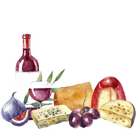 수채화 음식 그림의 집합입니다. 포도, 치즈, 무화과, 레드 와인 병, 와인 한 잔이 세트에 있습니다.