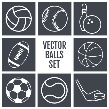 balones deportivos: Conjunto de líneas blancas iconos bolas de los deportes en un fondo gris. Siluetas vector.