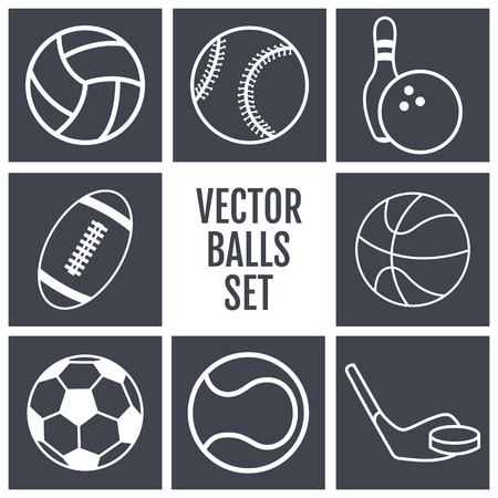 sports equipment: Set of white lines icons sports balls on a gray background . Vector illustration  silhouettes.