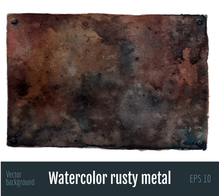 Watercolor rusty metal background. Vettoriali