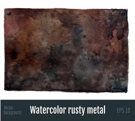 Watercolor rusty metal background. Vectores