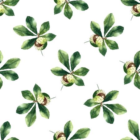chestnut tree: Chestnut leaf and walnut watercolor seamless pattern. Vector illustration.