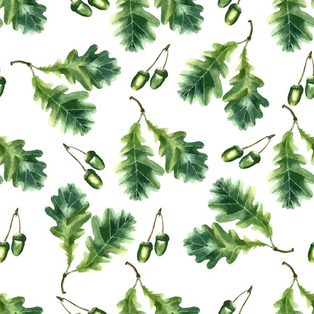 oak leaf: Oak leaf and acorn watercolor seamless pattern. Vector illustration.