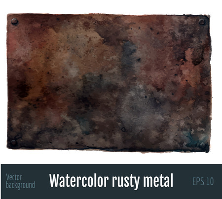 rusty metal: Watercolor rusty metal background. Stock Photo
