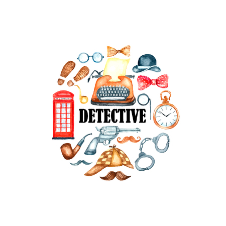 Watercolor retro detective accessories frame. Hand draw round frame illustration for your design.