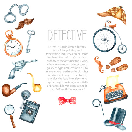 Watercolor retro detective accessories. Hand draw illustration for your design with place for text. Vectores