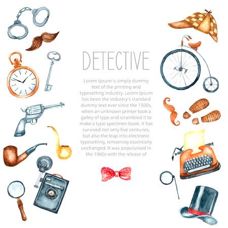 Acuarela accesorios de detectives retro. Drenaje de la mano ilustración para su diseño con lugar para el texto. Foto de archivo - 46275922