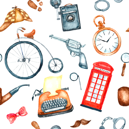 Watercolor retro detective accessories seamless pattern. Hand draw illustration for your design. Illustration