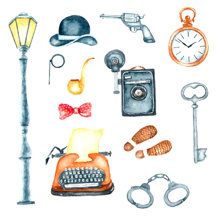 phone the clock: Watercolor retro detective accessories. Hand draw illustration for your design. Illustration